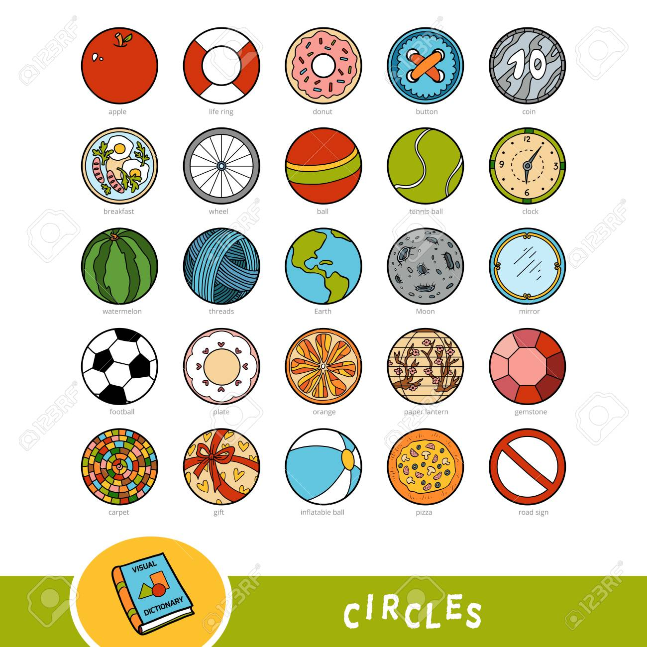 Colorful set of circle shape objects. Visual dictionary for children about geometric shapes. Education set for studying geometry. - 112342715