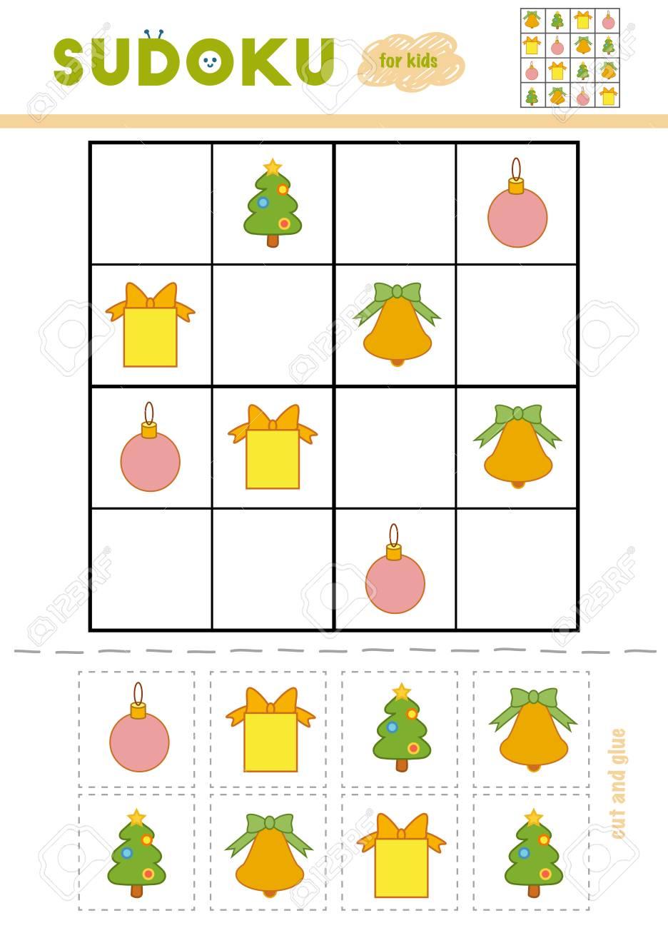 Christmas Sudoku.Sudoku For Children Education Game Cartoon Christmas Objects