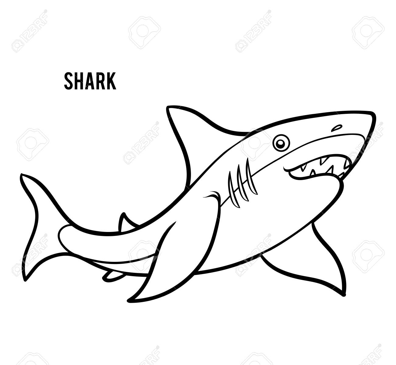 - Coloring Book For Children, Cartoon Animal Shark Royalty Free