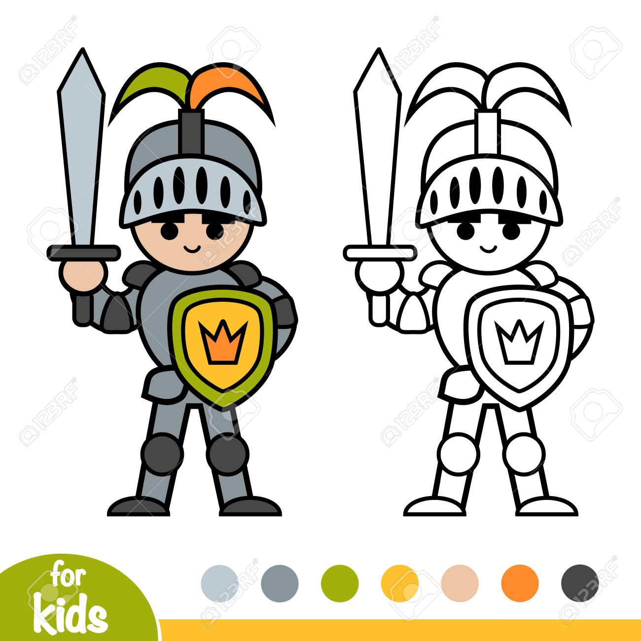 Coloring book for children, Knight