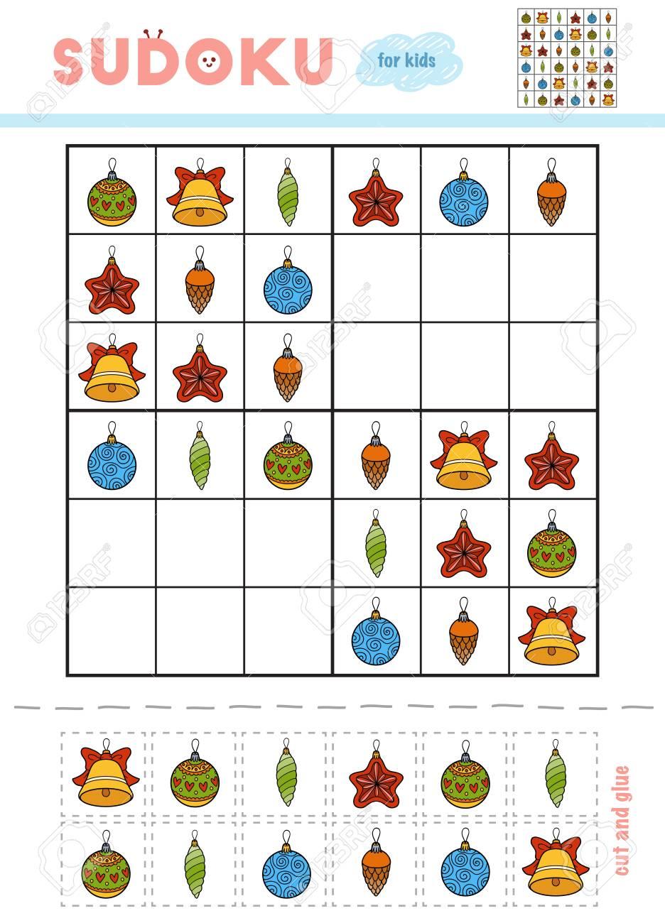 Christmas Sudoku.Sudoku For Children Education Game Set Of Christmas Toys Use