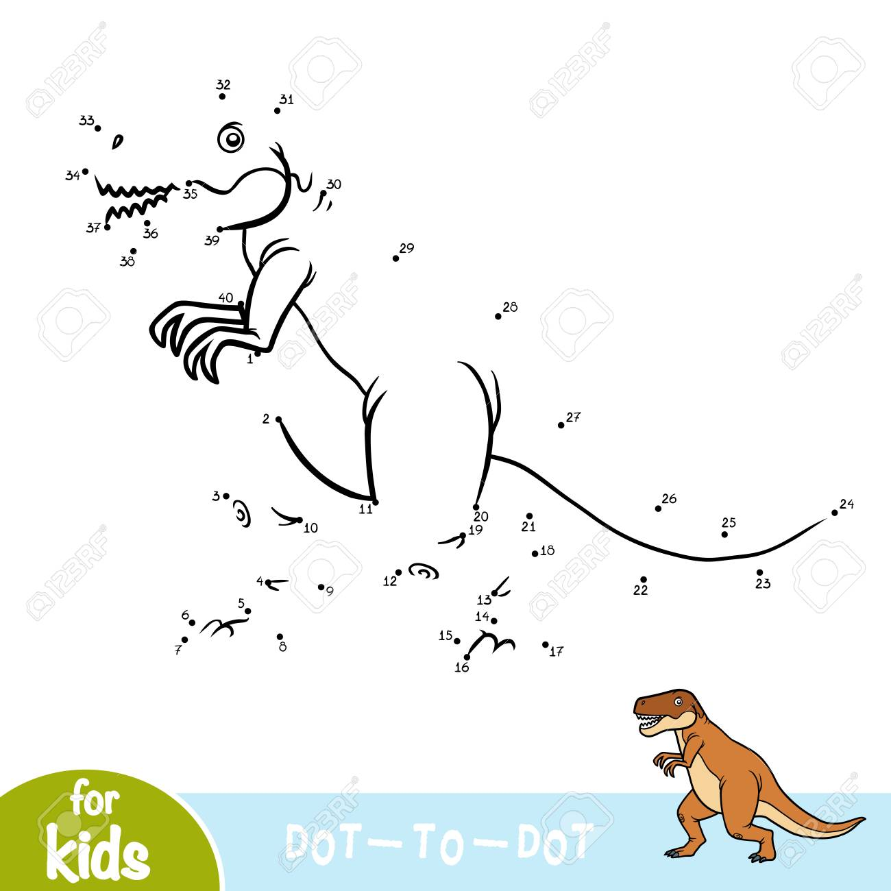 Numbers game, education dot to dot game for children, Tyrannosaurus - 110508339