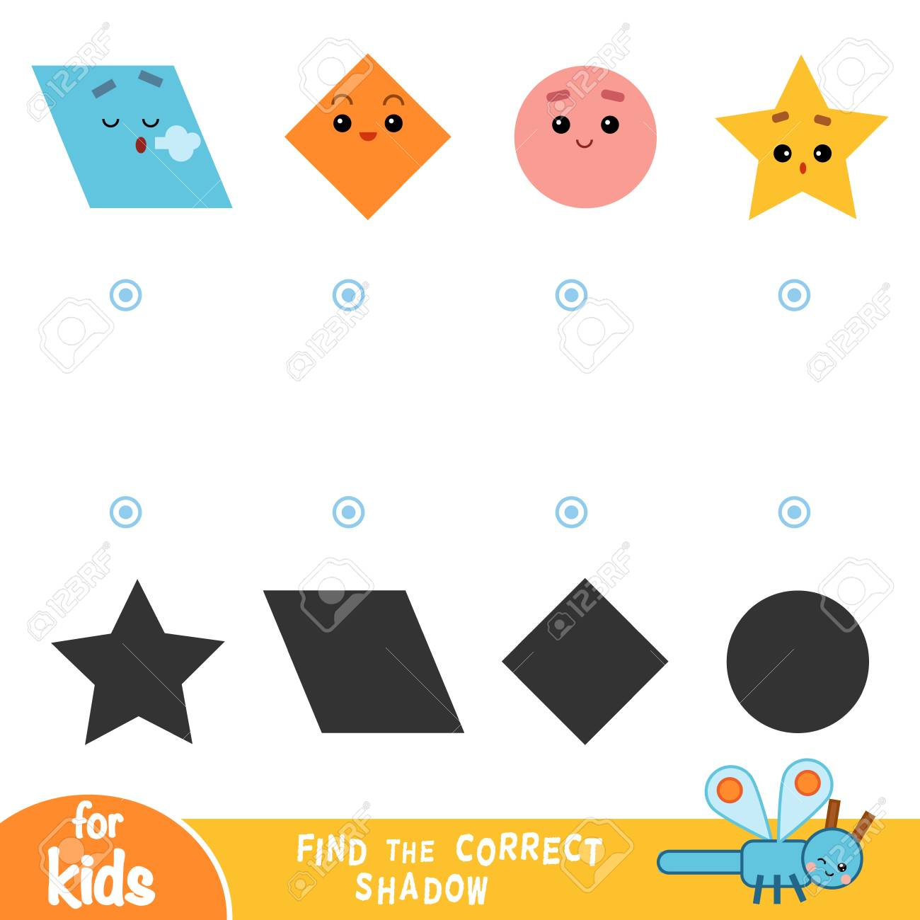 Find the correct shadow, education game for children  Geometric