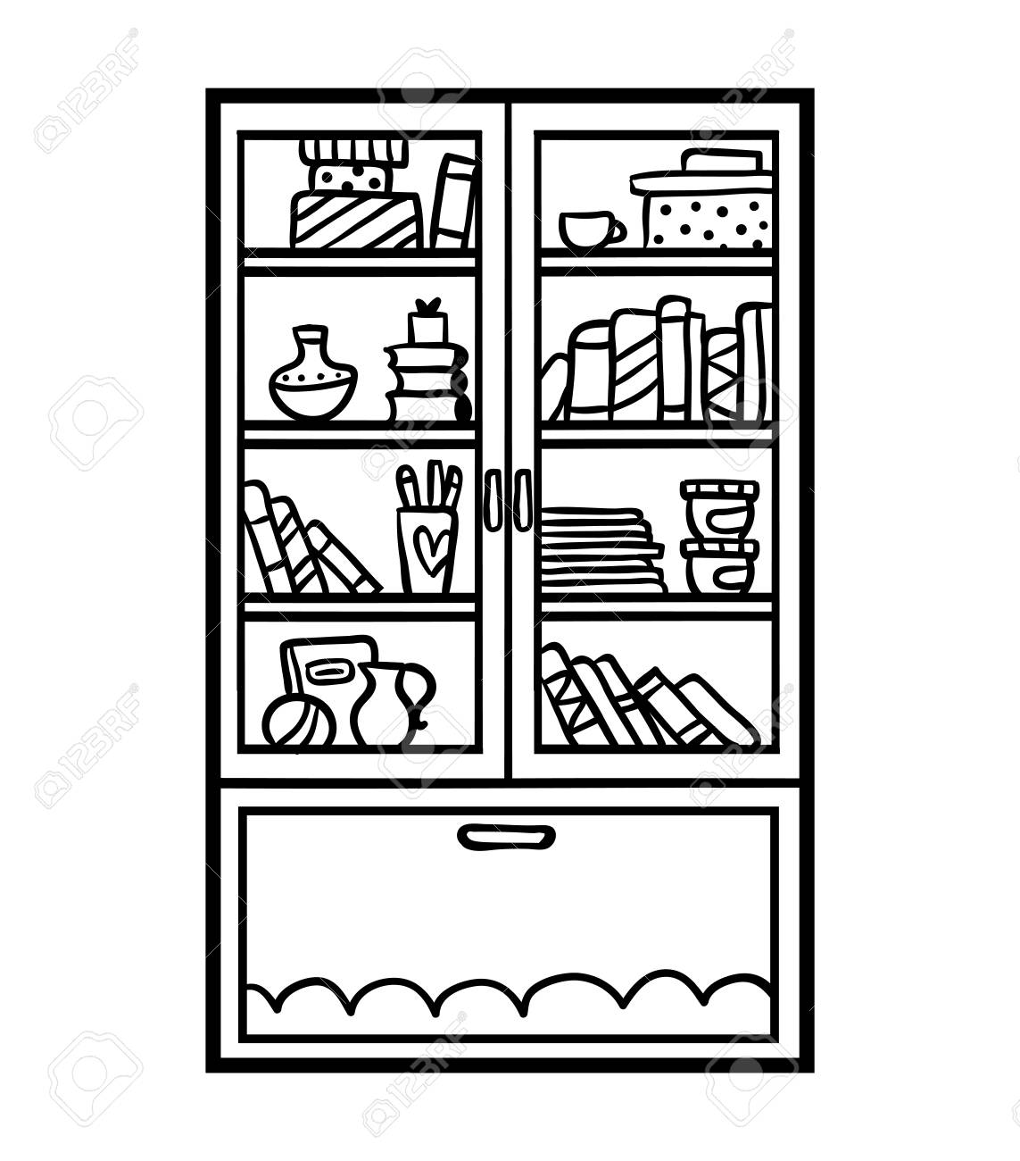 Coloring Book For Children Bookcase With Glass Doors