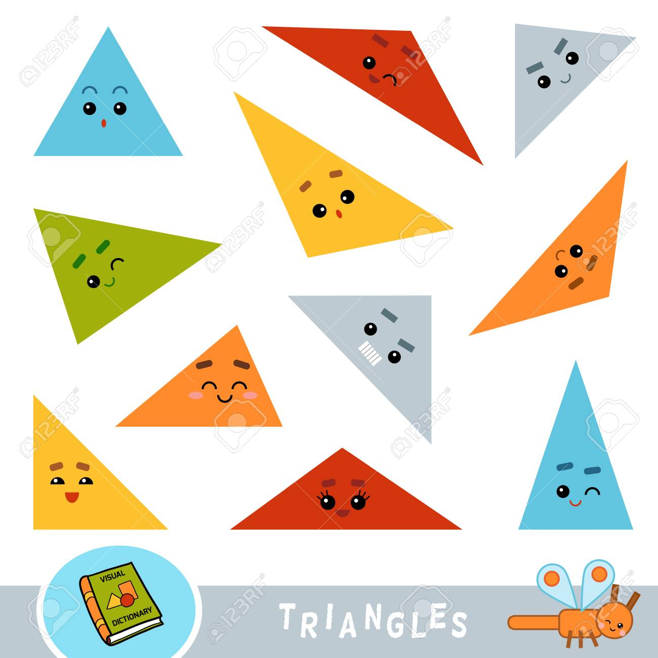 Colorful set of triangles. Visual dictionary for children about geometric shapes. - 113442586