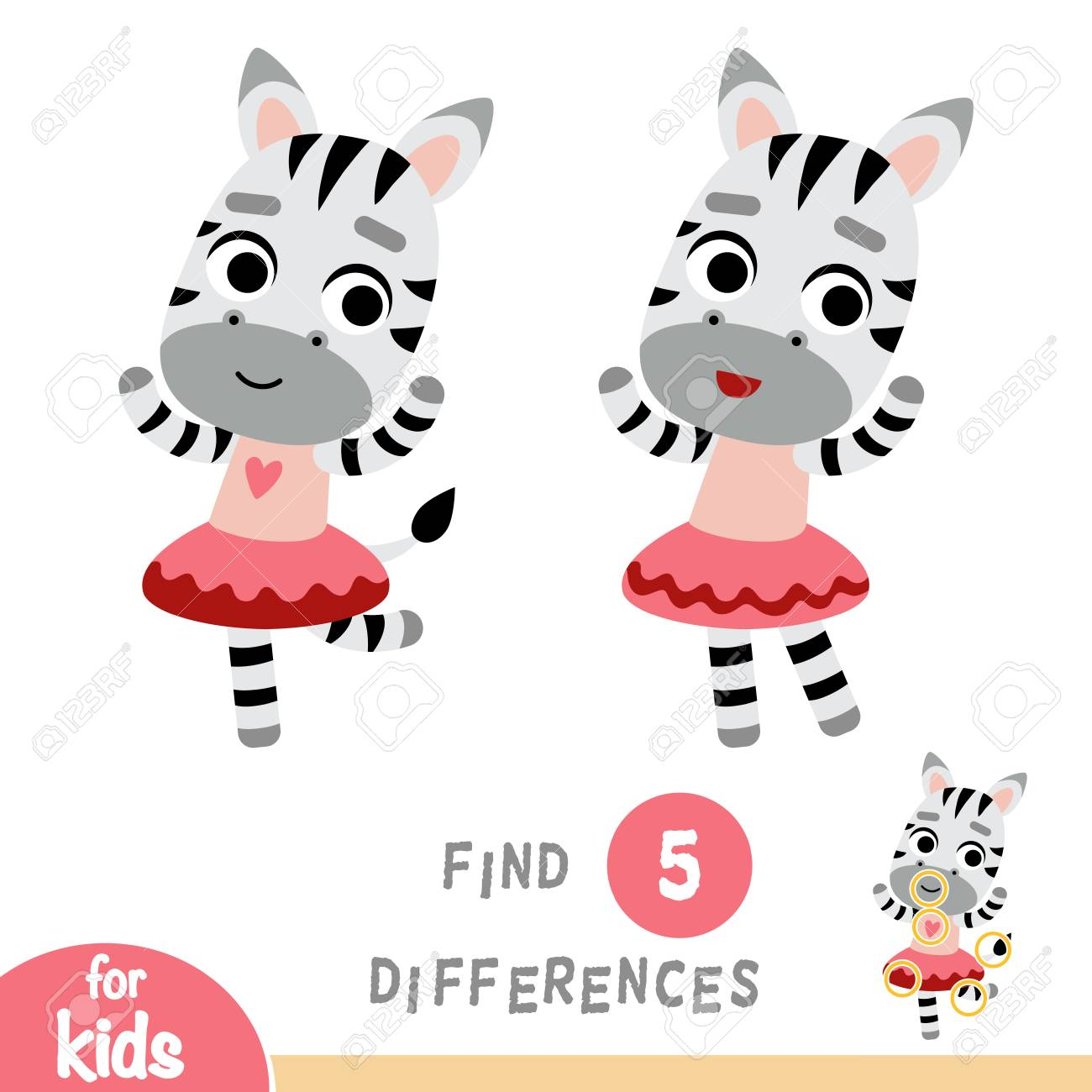 Find differences, education game for children, dancing Zebra - 126352868