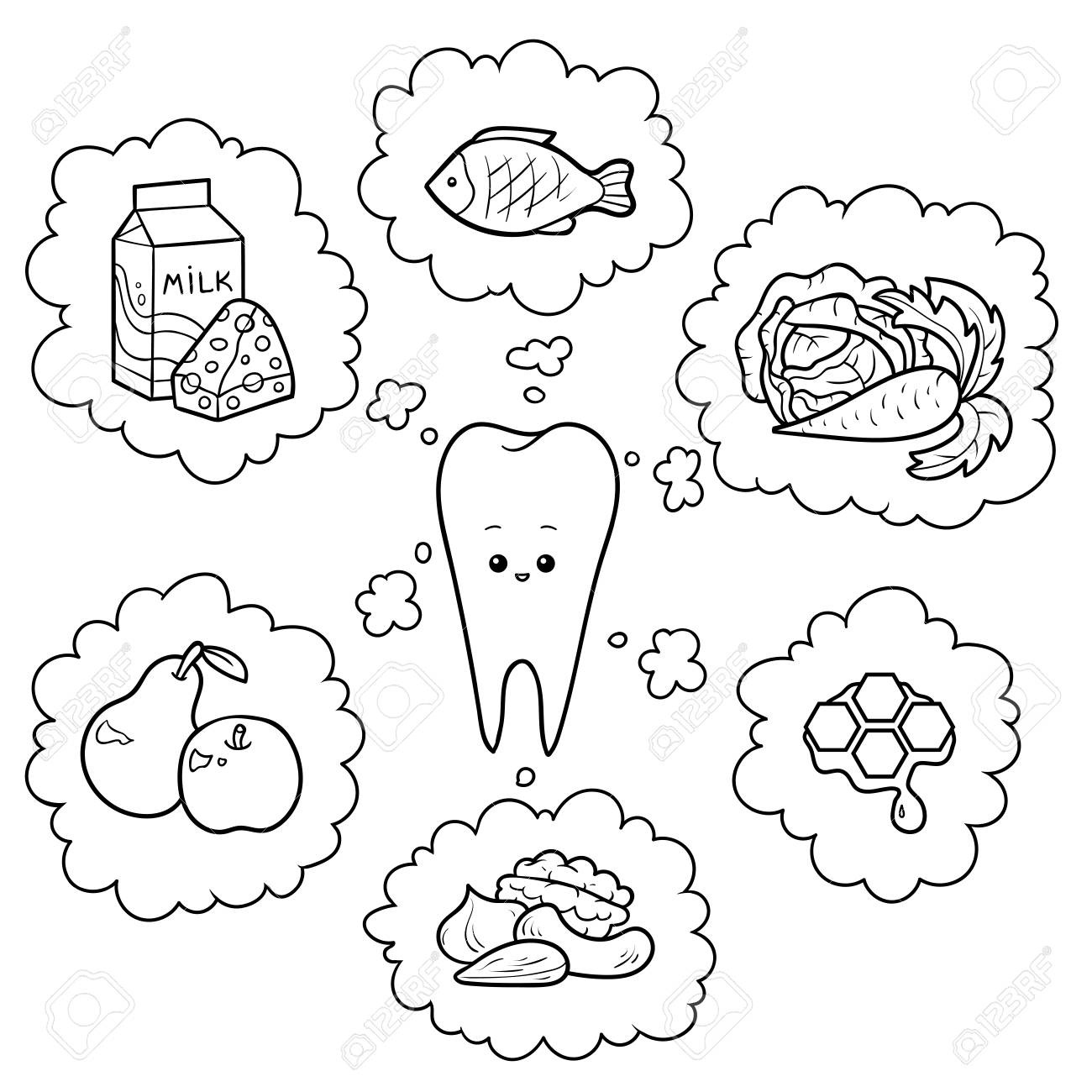 Black And White Cartoon Illustration Good Food For Teeth Educational Royalty Free Cliparts Vectors And Stock Illustration Image 126352997