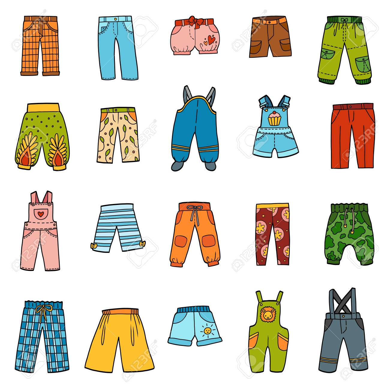 Vector set of pants, color collection of cartoon trousers and overalls - 122793097