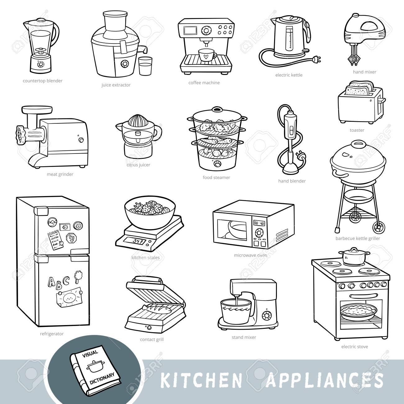Black and white set of kitchen appliances, collection of vector items with names in English. Cartoon visual dictionary for kids - 133107507