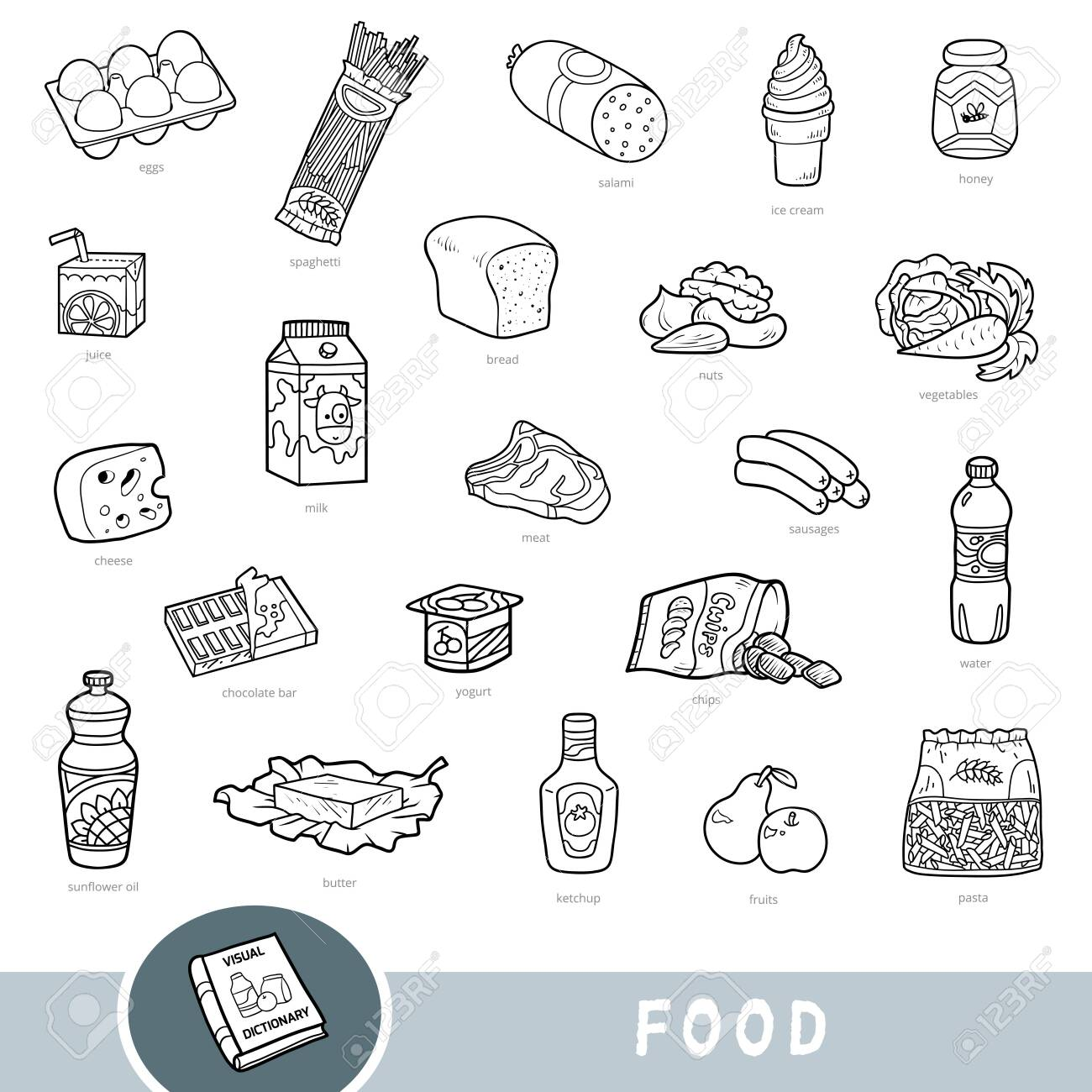 Black and white set of food, collection of vector items with names in English. Cartoon visual dictionary for kids - 133820164