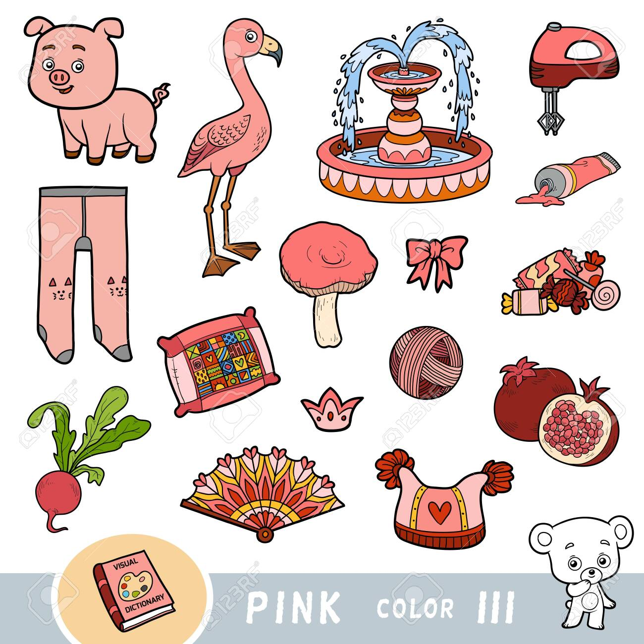 Colorful set of pink color objects. Visual dictionary for children about the basic colors. Cartoon images to learning in kindergarten and preschool - 136781248