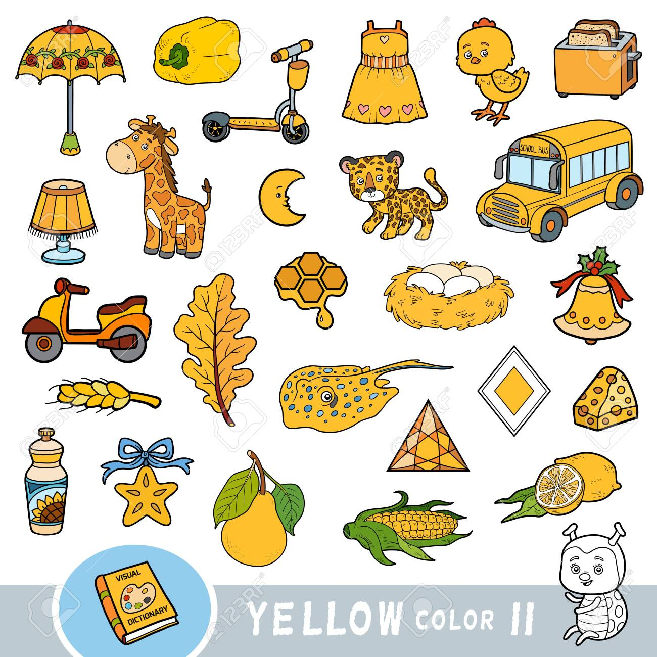 Colorful set of yellow color objects. Visual dictionary for children about the basic colors. Cartoon images to learning in kindergarten and preschool - 136781249