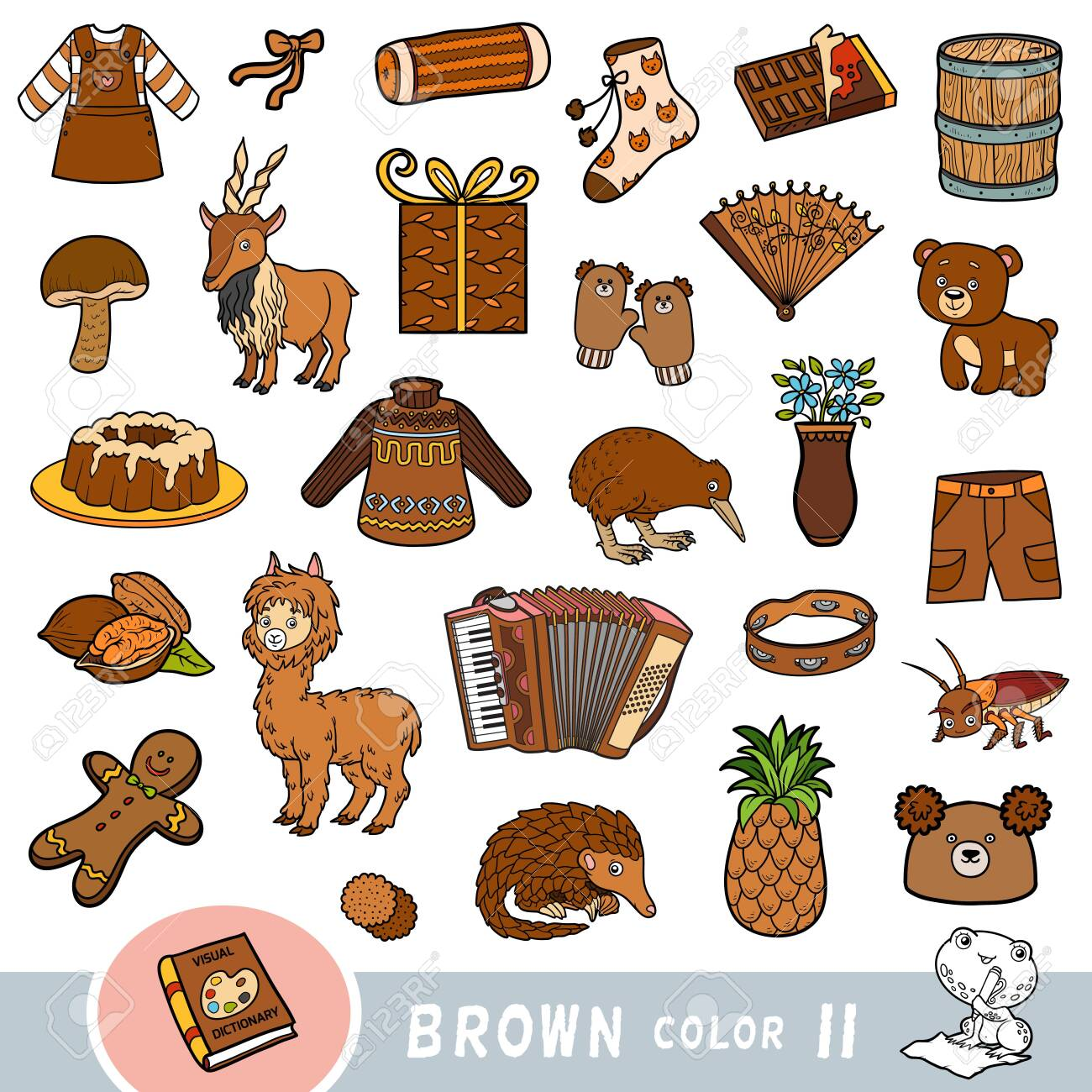 Colorful set of brown color objects. Visual dictionary for children about the basic colors. Cartoon images to learning in kindergarten and preschool - 136781256