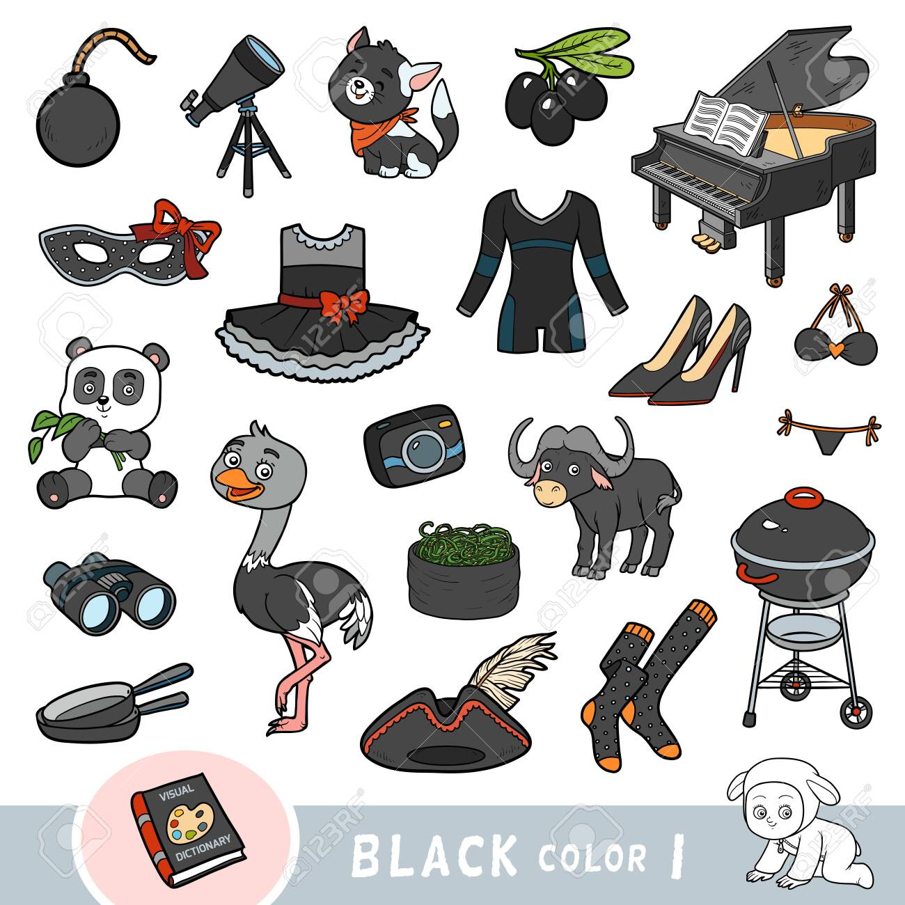 Colorful set of black color objects. Visual dictionary for children about the basic colors. Cartoon images to learning in kindergarten and preschool - 136781417