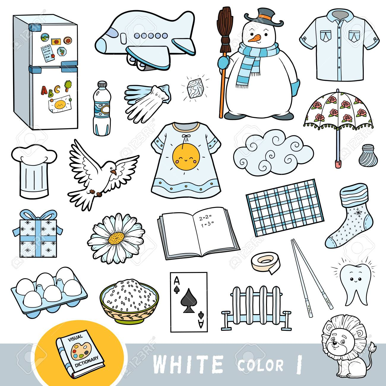 Colorful set of white color objects. Visual dictionary for children about the basic colors. Cartoon images to learning in kindergarten and preschool - 136781273