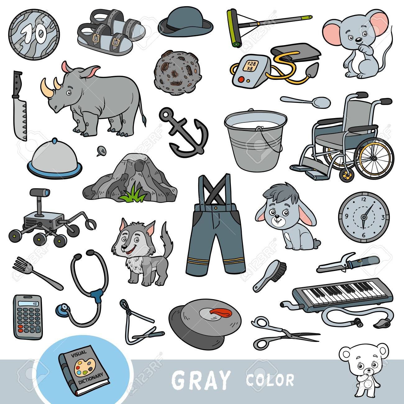 Colorful set of gray color objects. Visual dictionary for children about the basic colors. Cartoon images to learning in kindergarten and preschool - 136781324