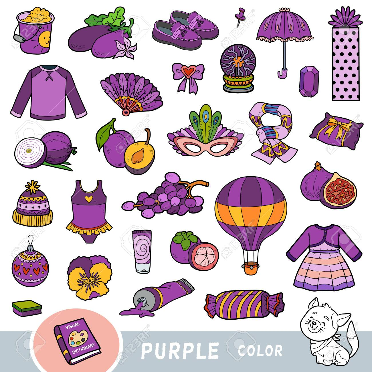 Colorful set of purple color objects. Visual dictionary for children about the basic colors. Cartoon images to learning in kindergarten and preschool - 136781270