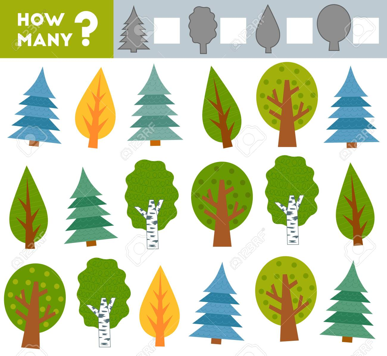 Counting Game for Preschool Children. Educational a mathematical game. Count how many trees and write the result! - 148569055