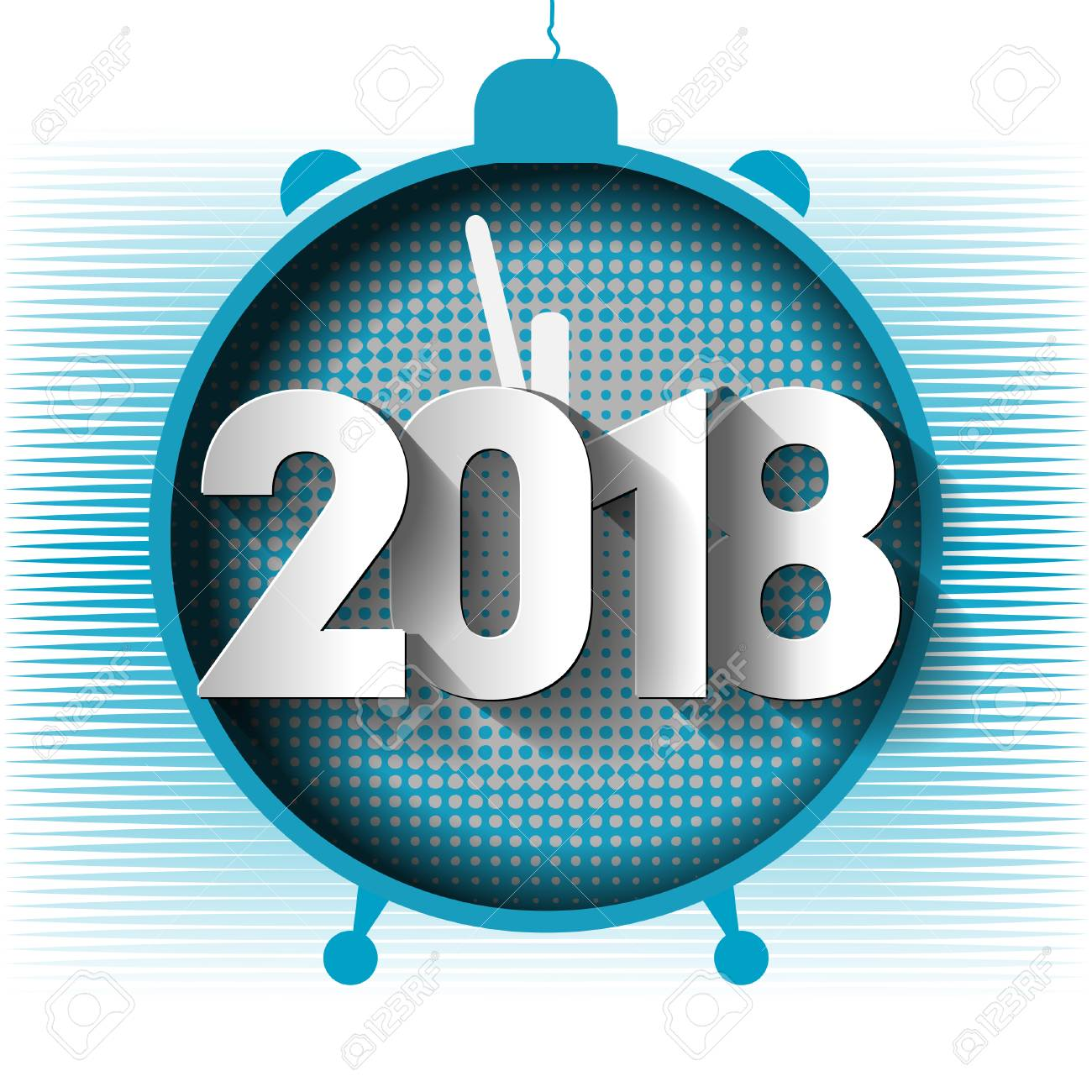 happy new year 2018 background decoration template greeting cards 2018 alarm clock vector illustration