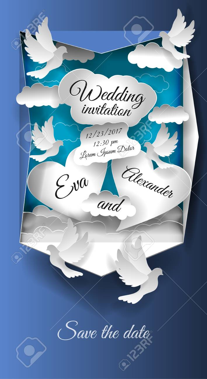 Wedding Invitation Card Save The Date Paper Art Craft Style
