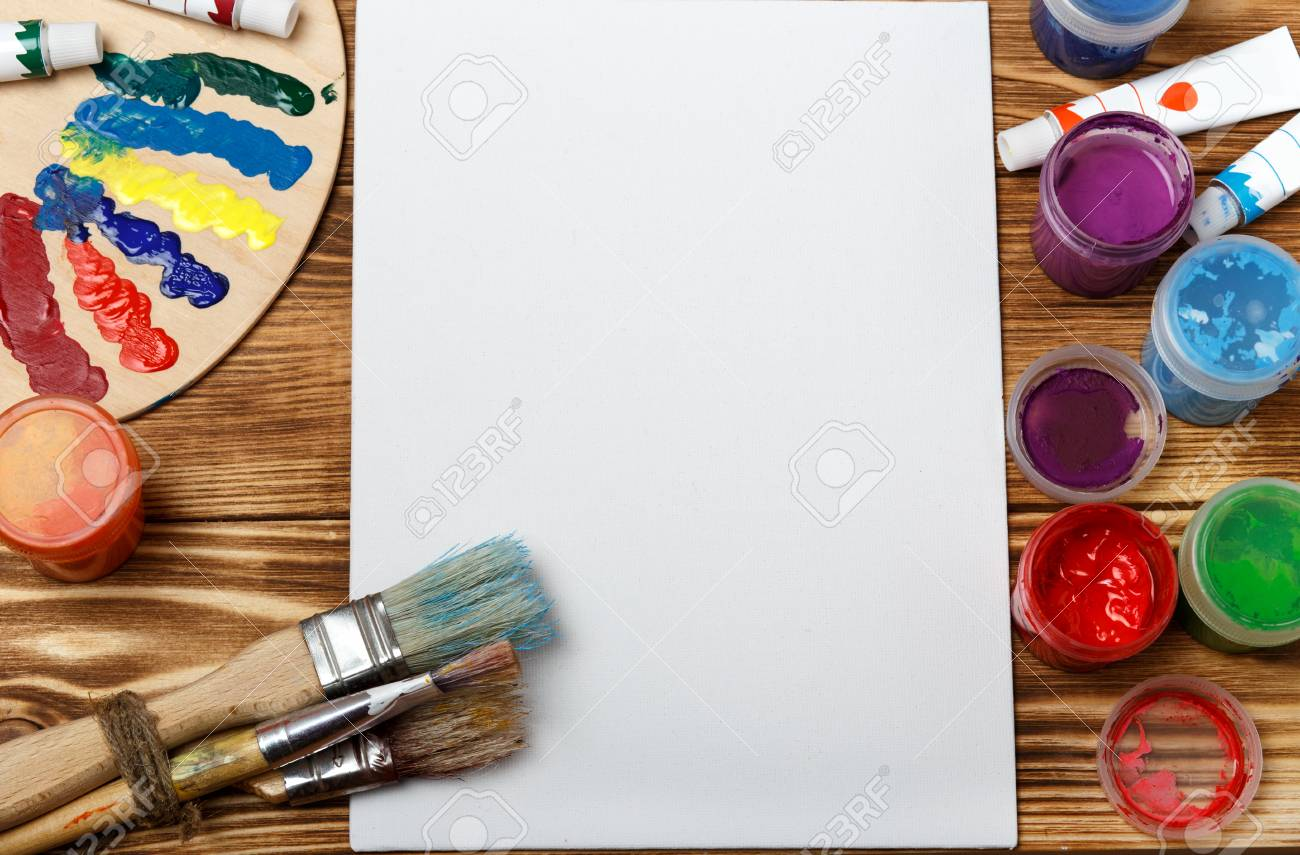 Artist's Workshop. Canvas, Paint, Brushes, Palette Knife Lying.. Stock Photo, Picture And Royalty Free Image. Image 92394272.