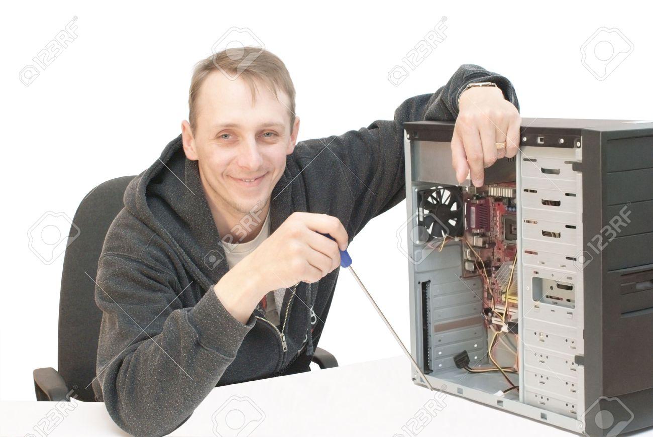 Technician repairing PC isolated on white Stock Photo - 3536635