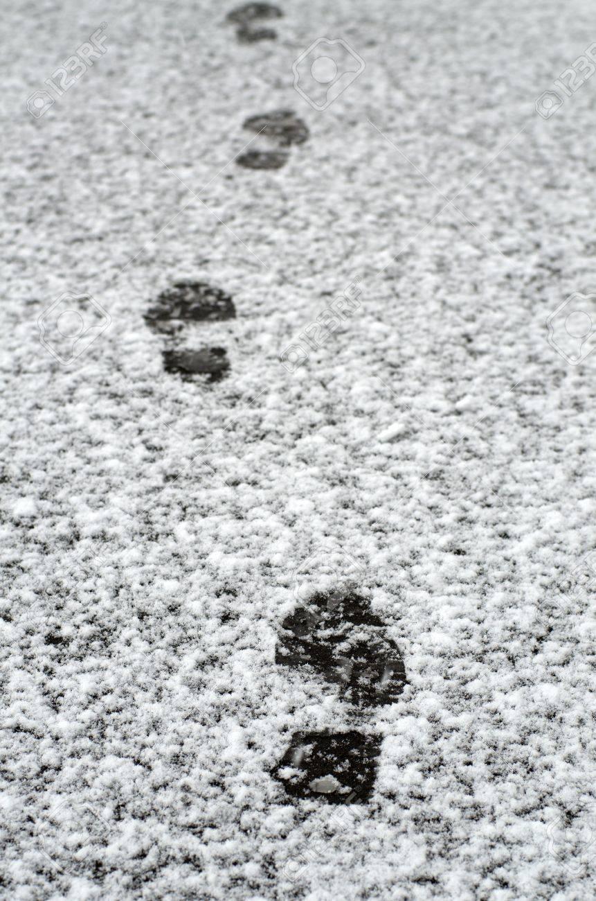 Footprints on the wet snow Stock Photo - 10801819