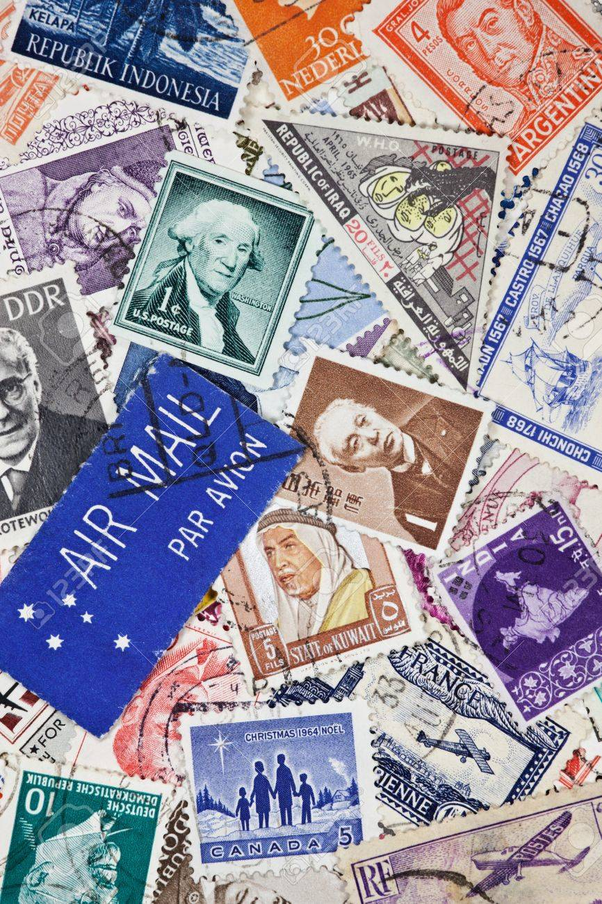 Vintage postage stamps from around the world Stock Photo - 13463588