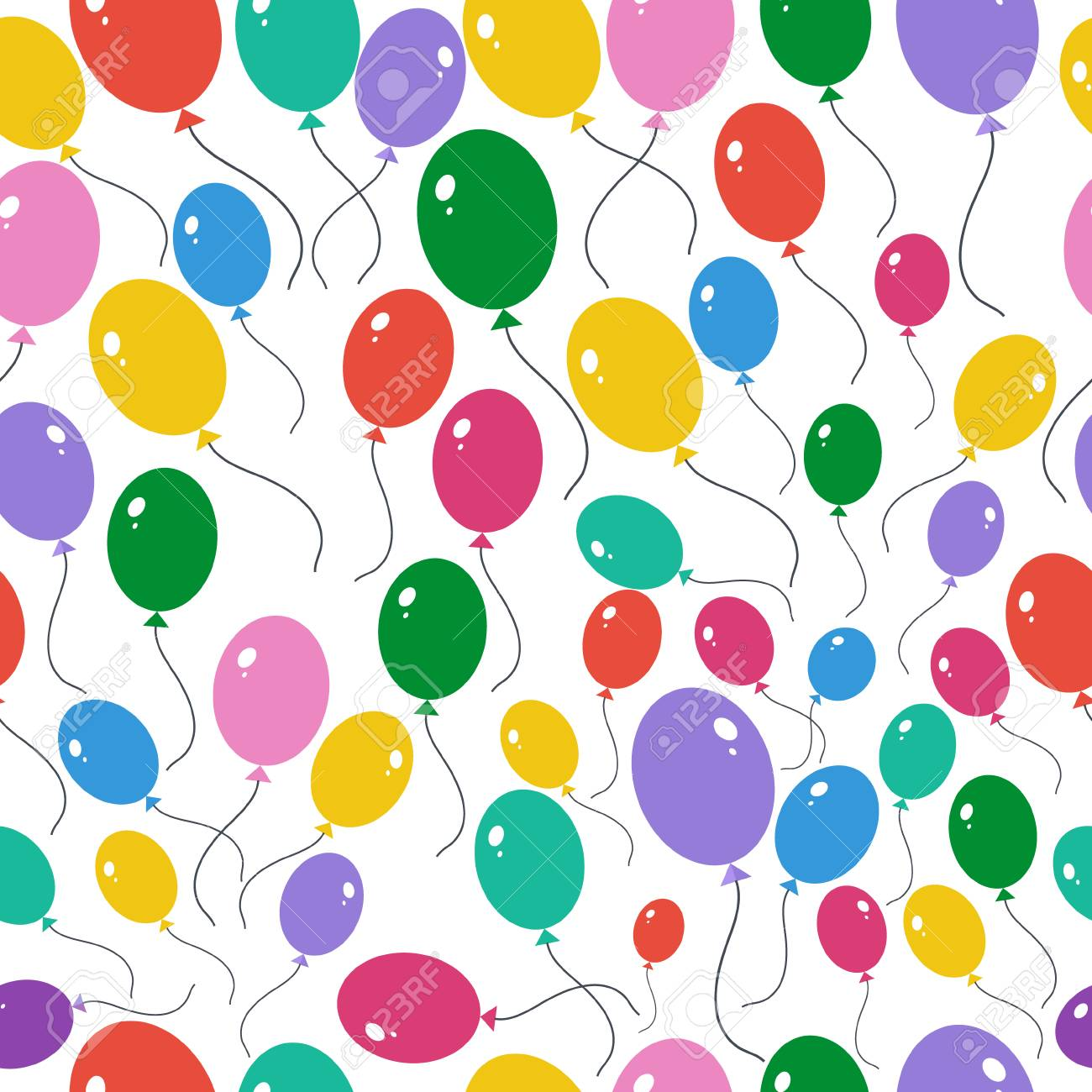 Seamless Fond Avec Dessin Anime Ballons Multicolores Clip Art