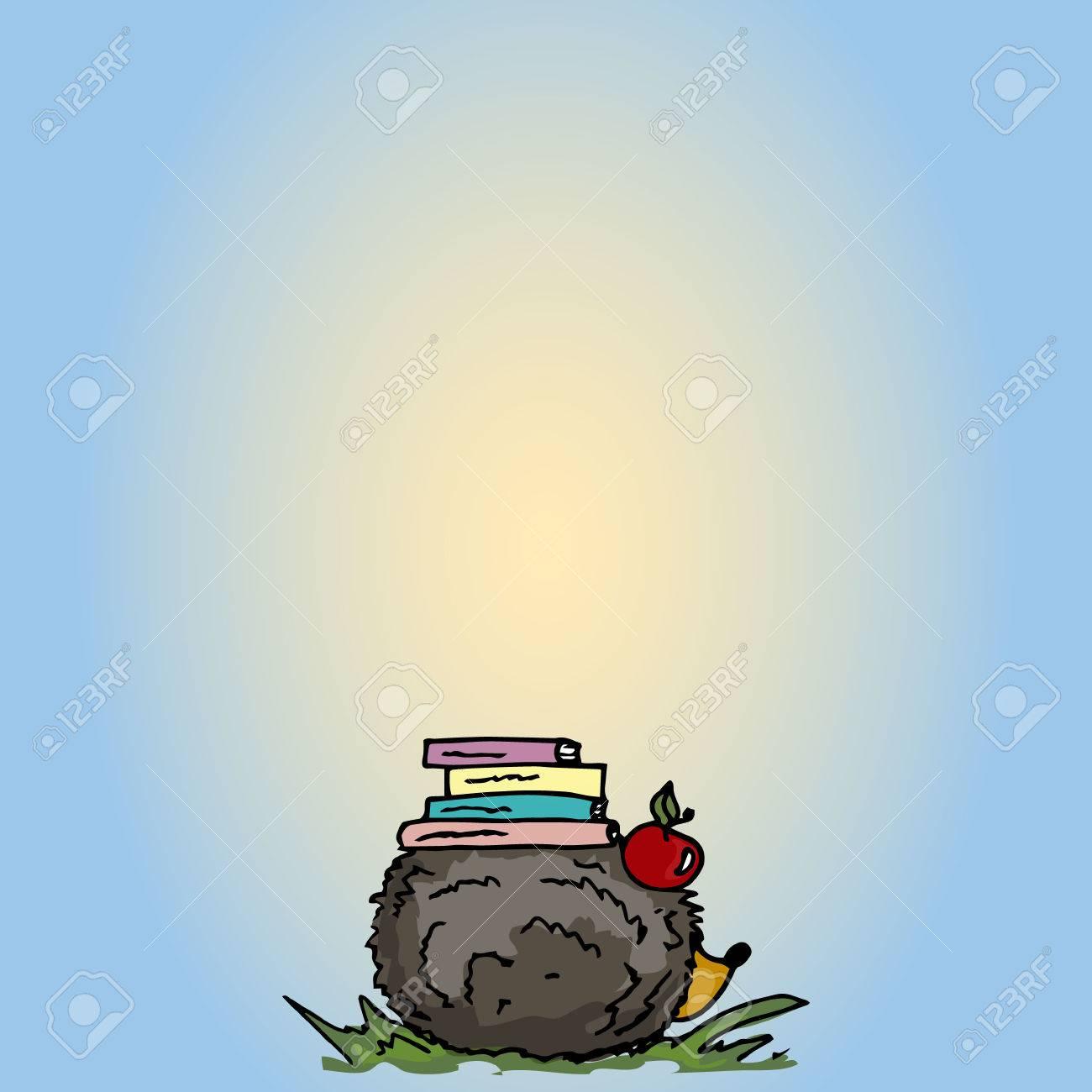 Vettoriale illustrazione riccio di cartone animato con i libri