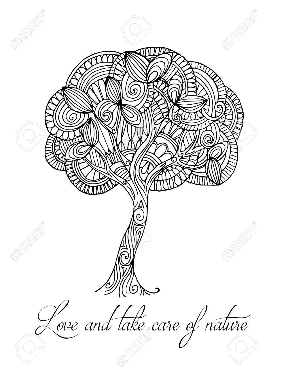 Hand Drawn Illustrations Abstract Black And White Tree Postcard