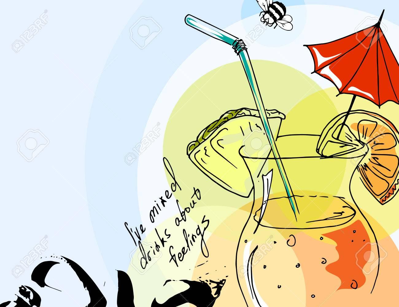 Dessin Avec La Main dessin à main levée. illustration de cocktail tropical avec parasol. modèle  sans couture