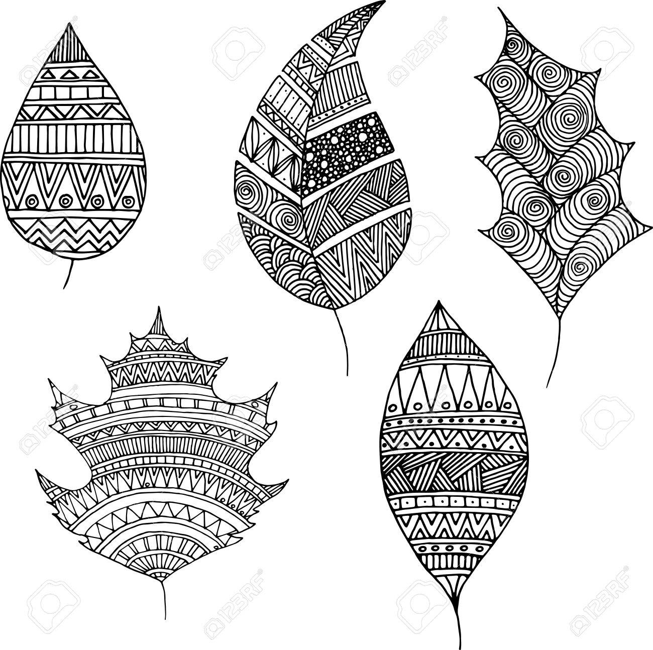 Collection Autumn Leaves Doodle Style Royalty Free Cliparts Vectors And Stock Illustration Image 45883180