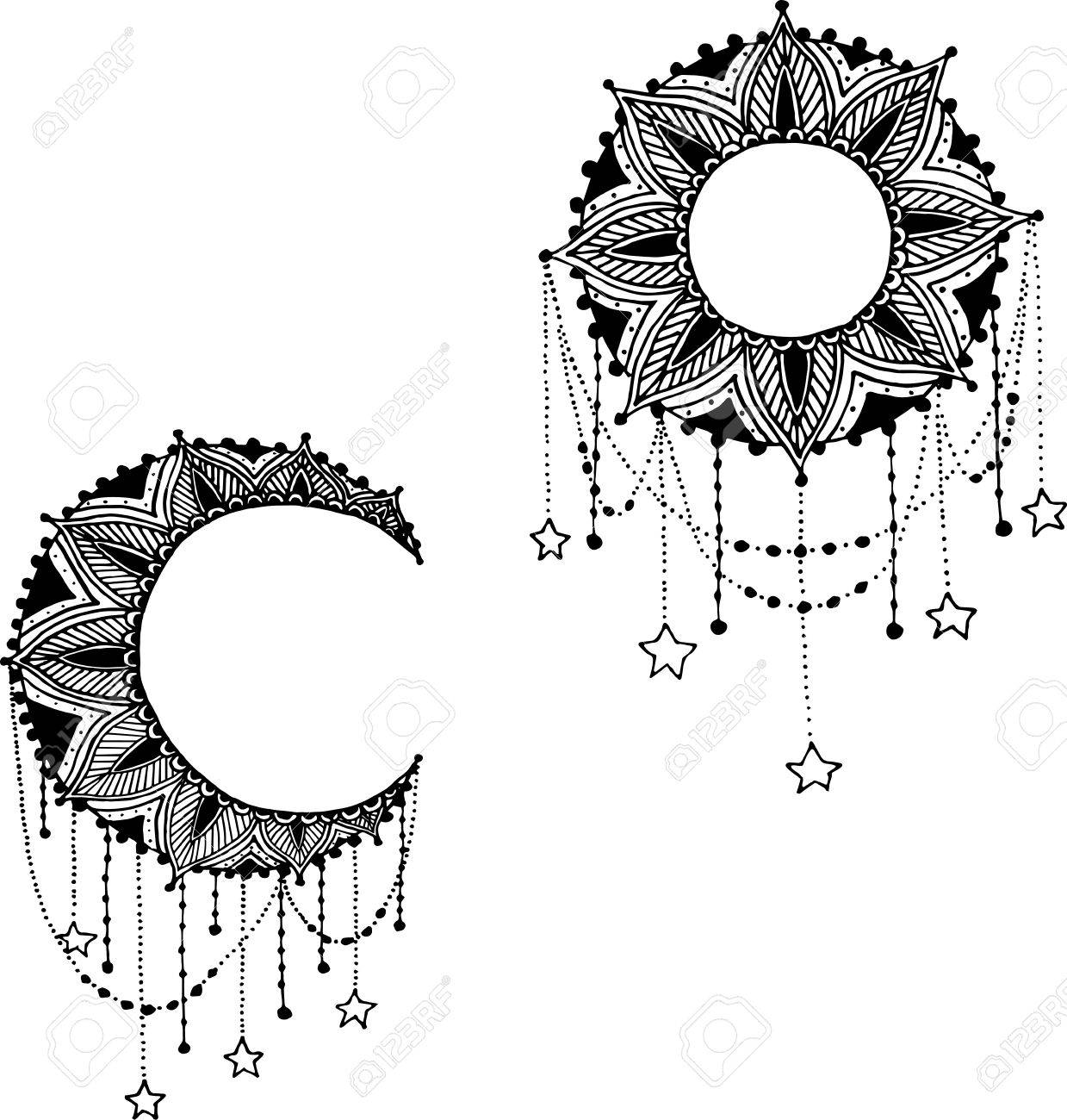 Hand-drawn mandala dreamcatcher with feathers. Ethnic illustration, tribal, American Indians traditional symbol. - 50571774