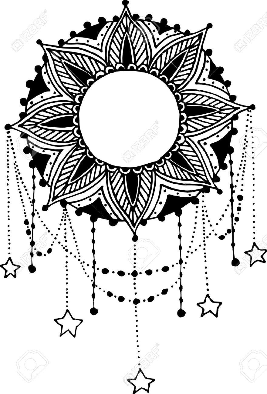 Sol Luna Mandala De Dreamcatcher Dibujado A Mano Con Plumas
