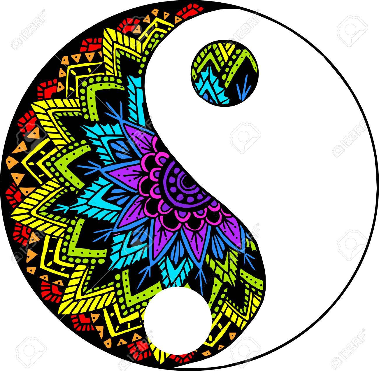 rainbow yin yang mandala royalty free cliparts vectors and stock rh 123rf com Mandala Yin Yang Wallpaper Tree Yin Yang Mandala