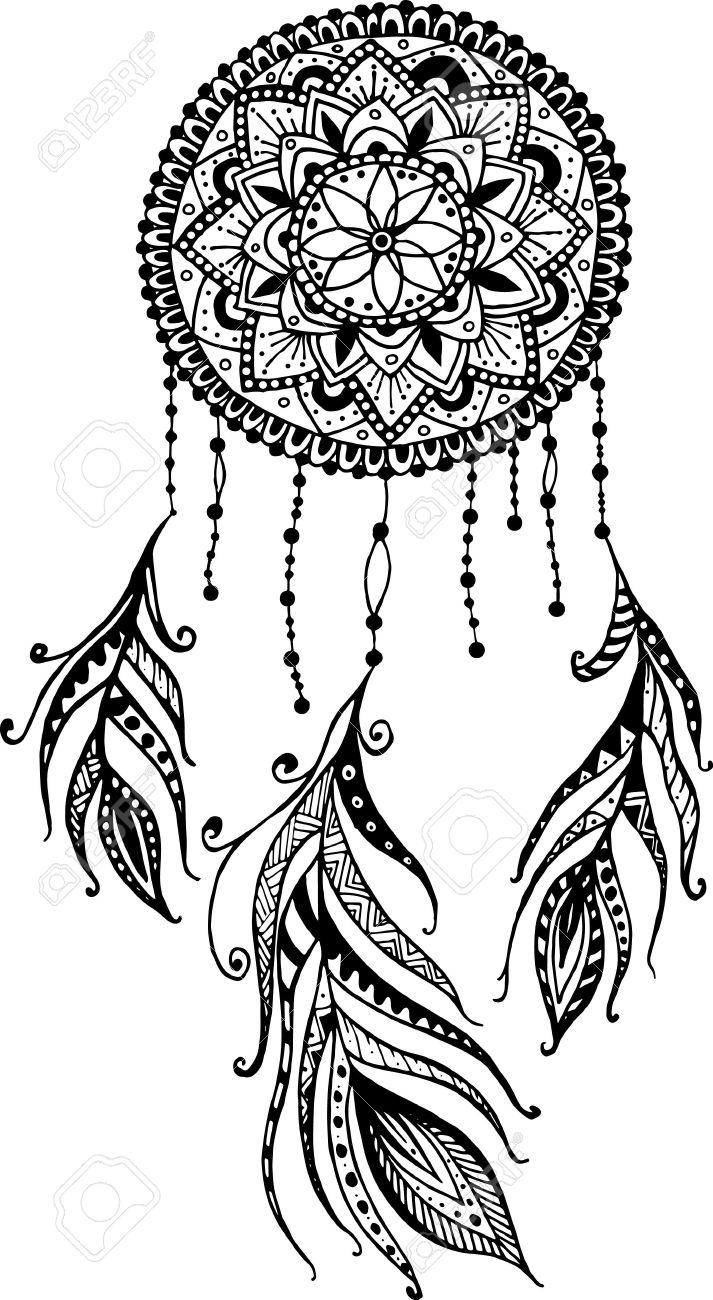 Dibujado A Mano Atrapasueños Mandala Con Plumas Ilustración étnico