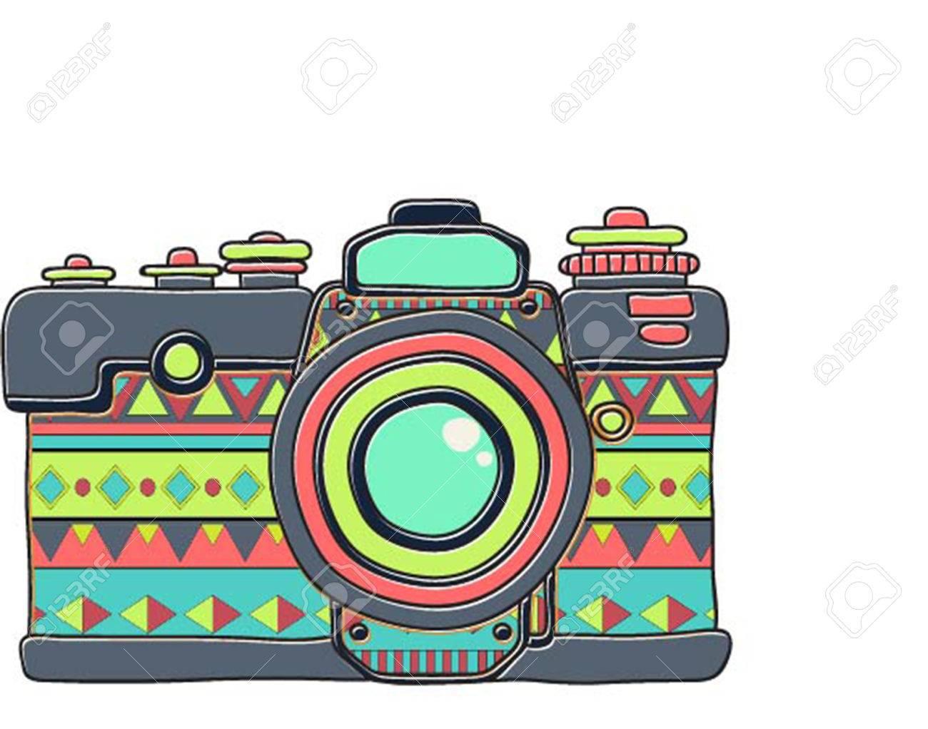 Cámara De Fotos Hipster Dibujado Mano Retro Del Vector. Ilustración ...