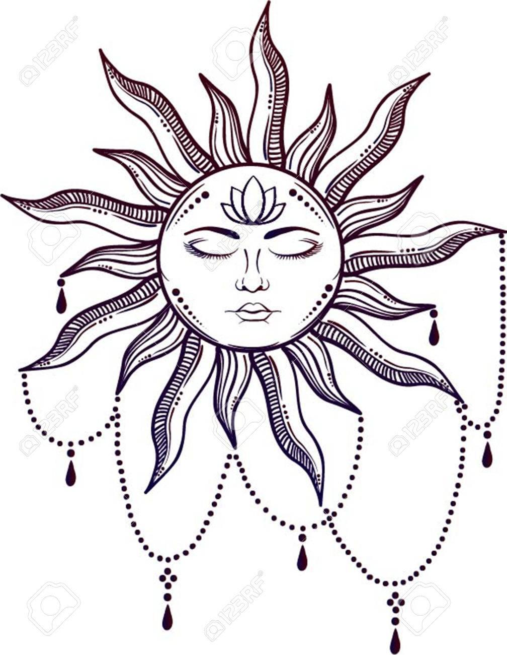 Symbole Elegant Et Elegant Du Visage Du Soleil Creation De Tatouage