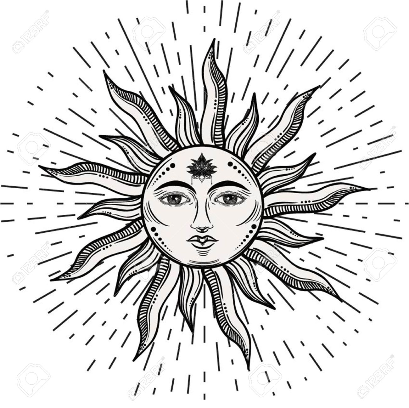 Beautiful romantic elegant sun face symbol Tattoo design.Vector illustration. Alchemy symbol - 77344275