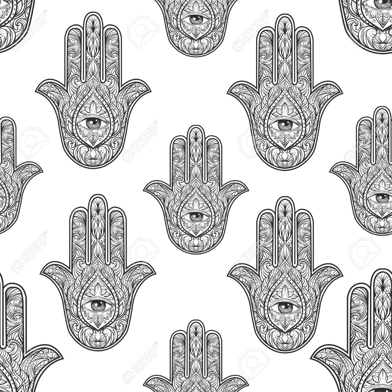 Hamsa Hand Pattern Vector Illustration Drawn Symbol Of Protection For Adult Anti Stress