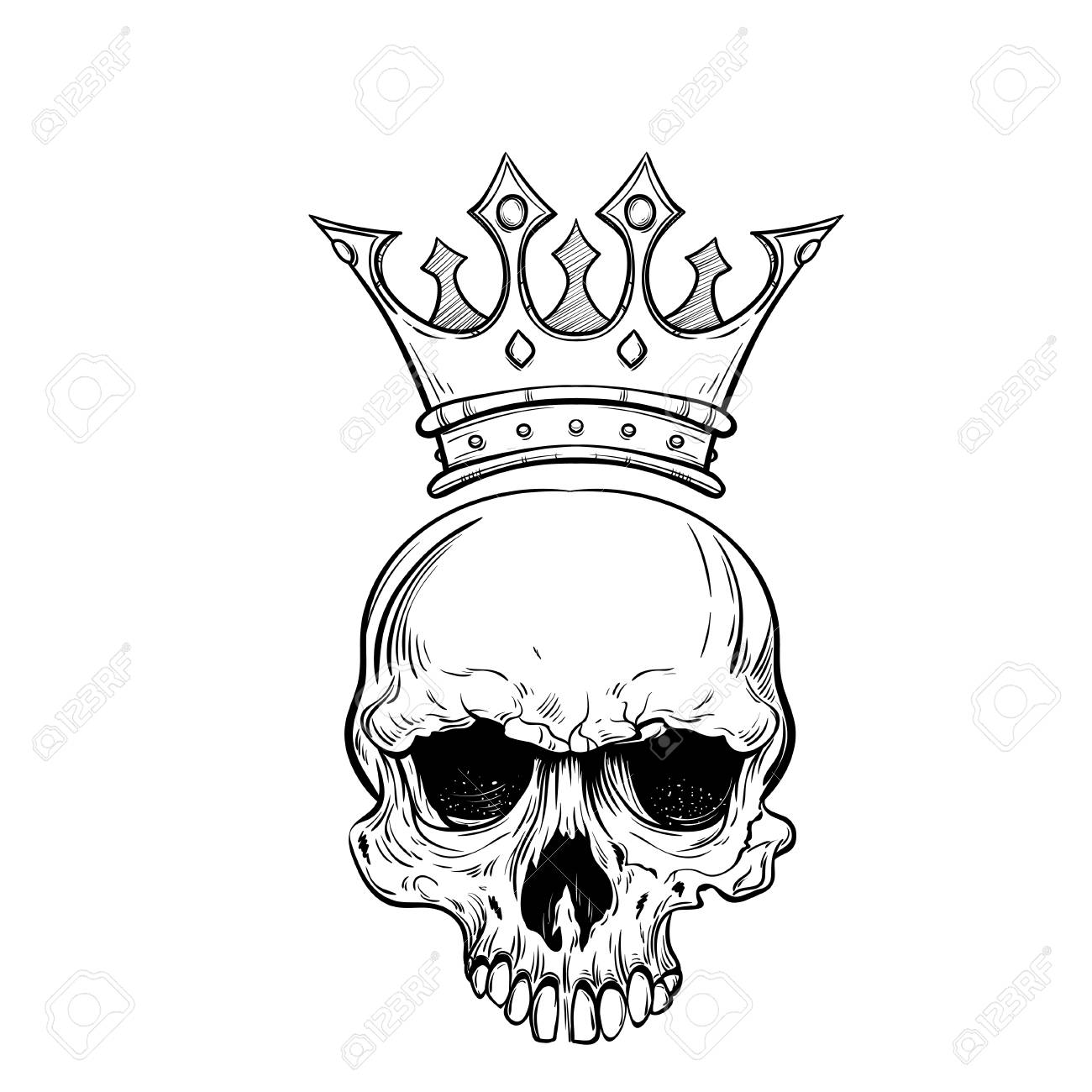 hand drawn sketch skull with crown royalty free cliparts vectors