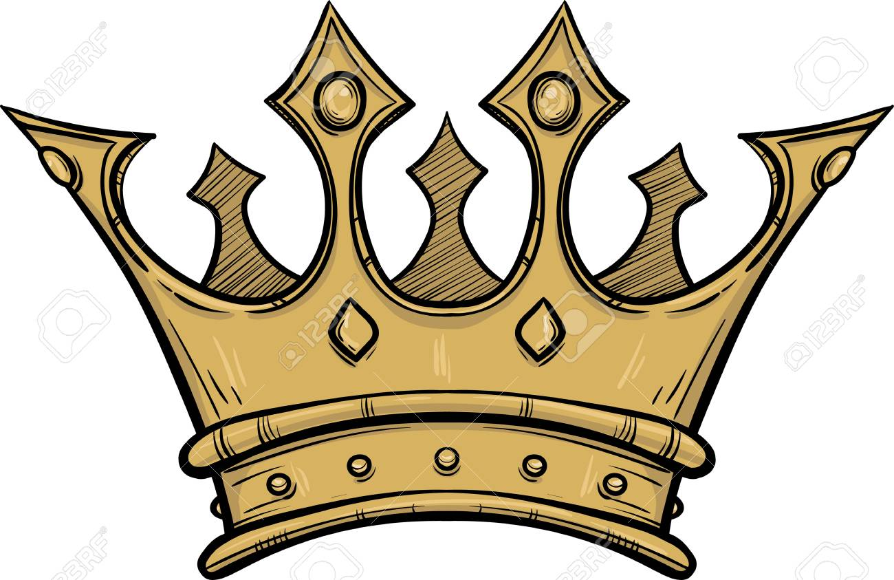 Golden King Crown Hand Drawn Vector Stock Illustration Black And White Whiteboard Drawing