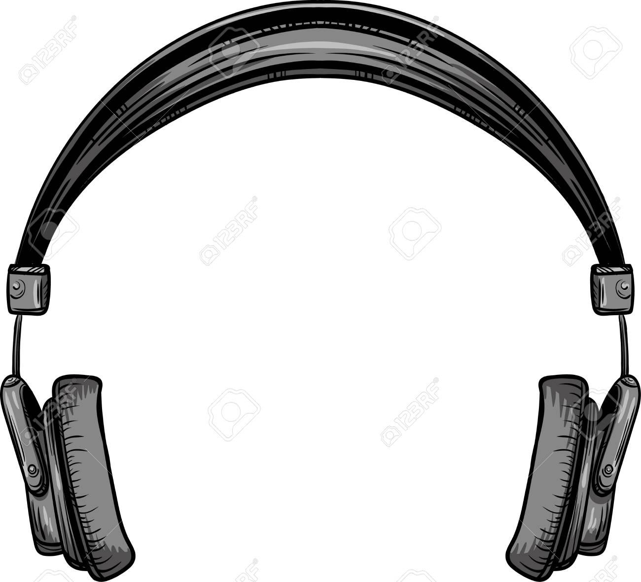 hand drawn vintage headphones vector illustration royalty free rh 123rf com headphones vector free download headphones vector illustration