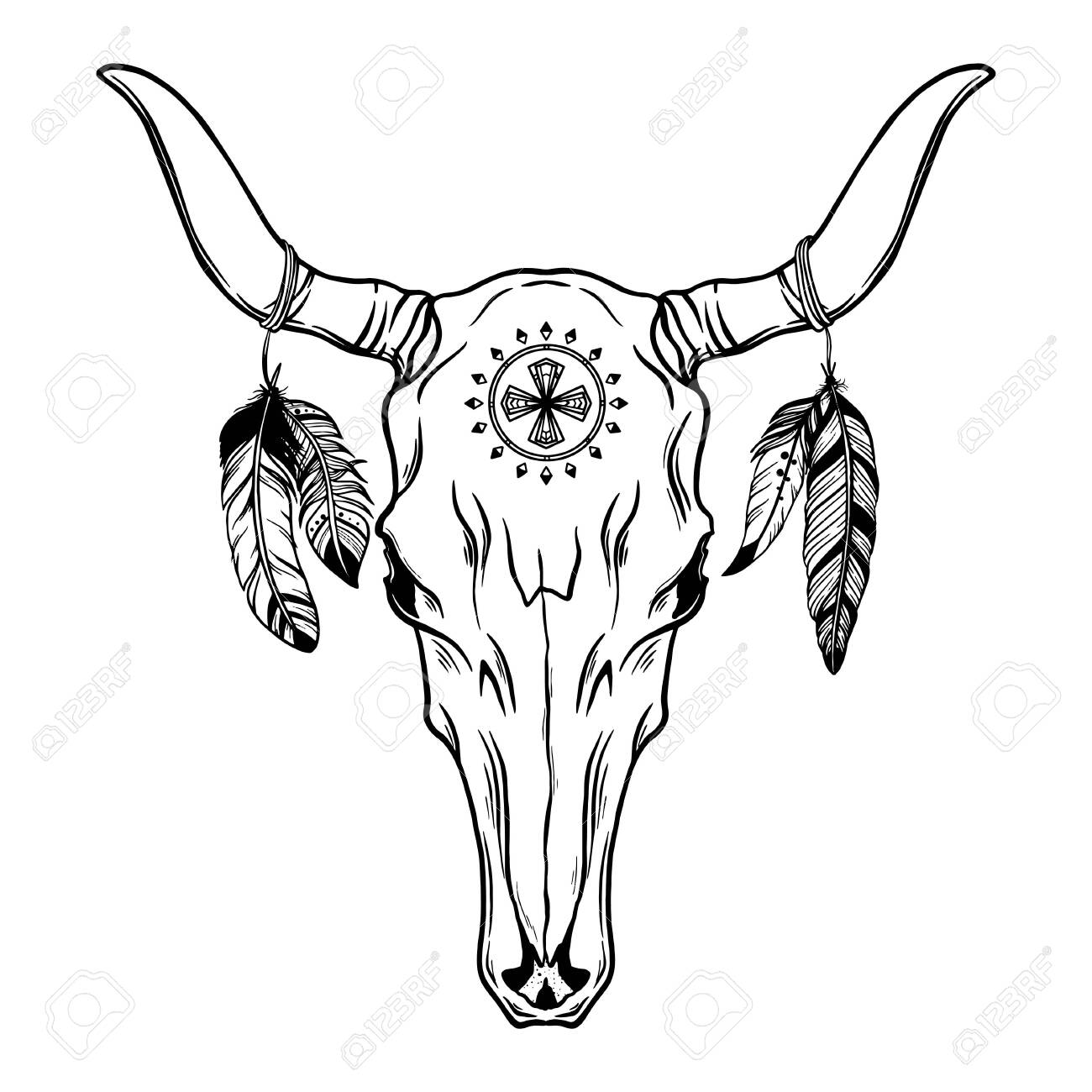 Hand drawn Buffalo Skull Native American Totem - 132919737