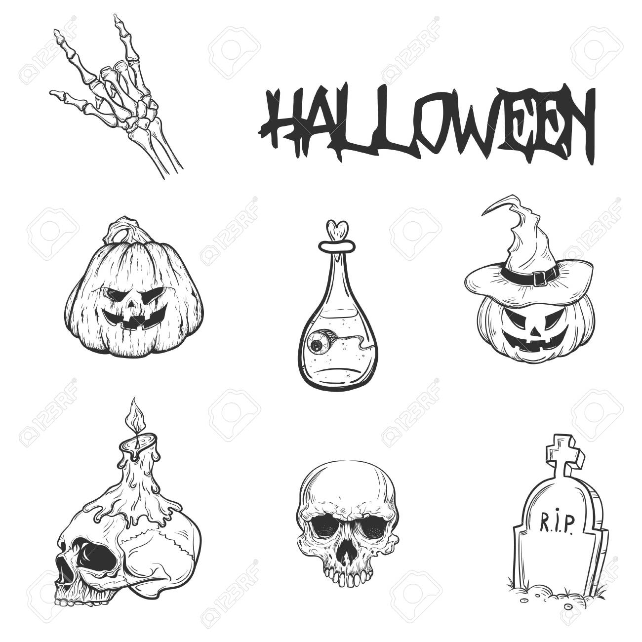 Set of hand drawn silhouettes for Halloween party - 132919752