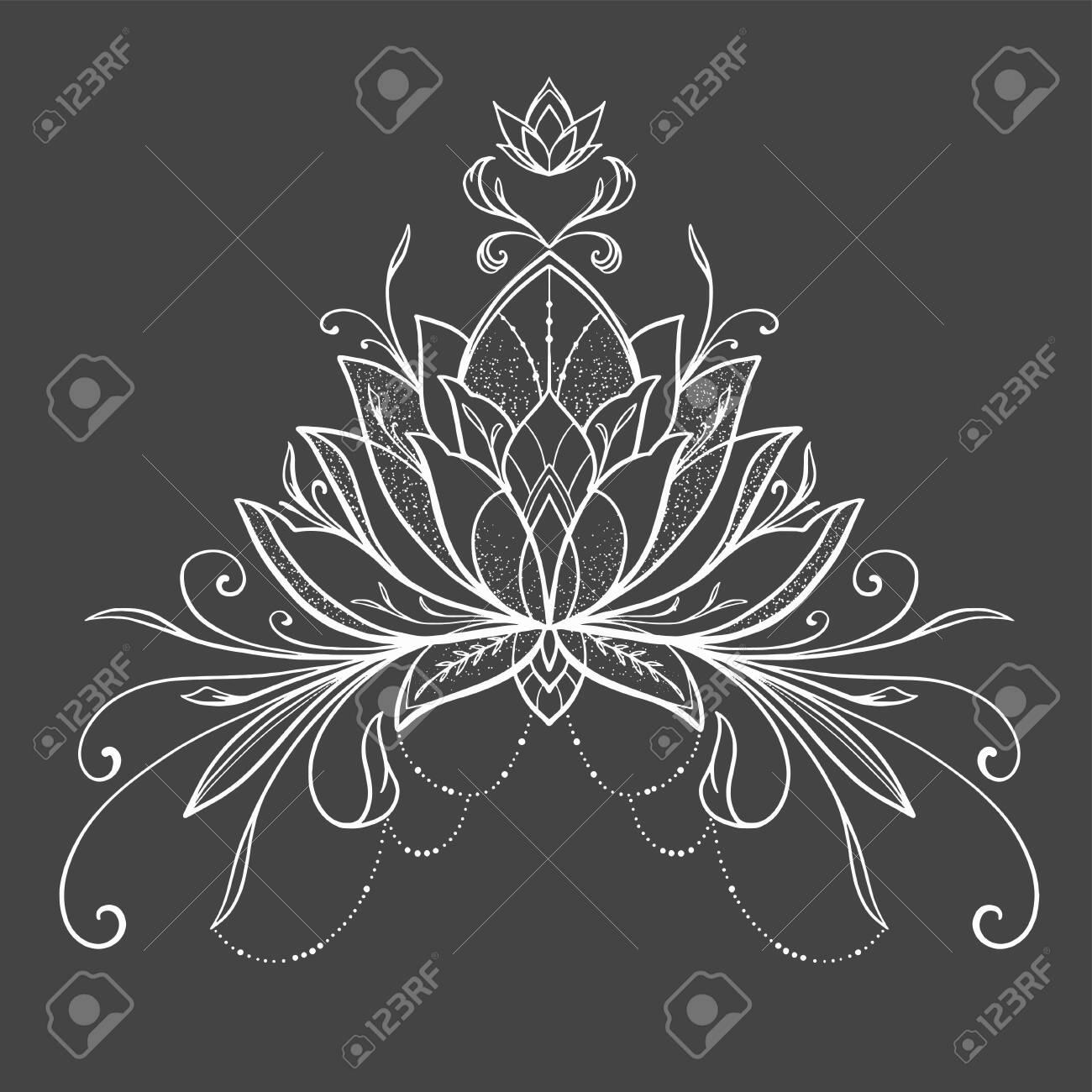 Filigree lotus flower, black vector, hand drawn - 132919760