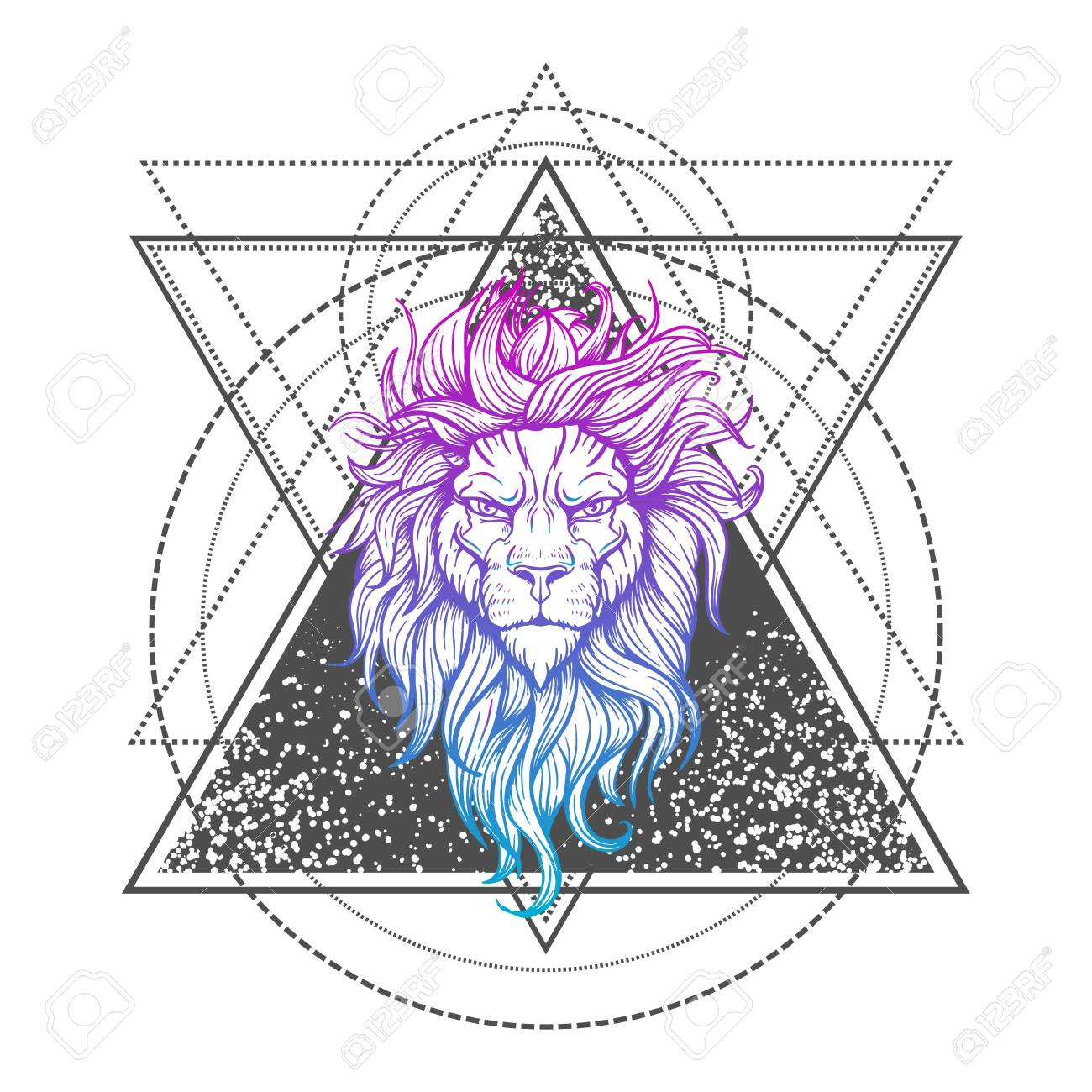 Vector Tattoo Lion. Illustration on geometry sign - 132919762