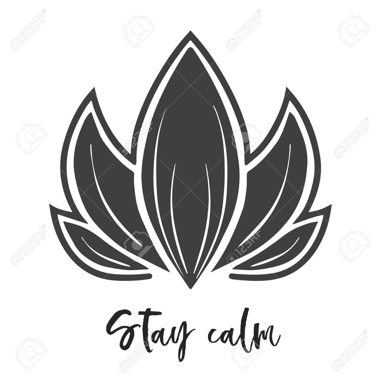 lotus flower, black vector, hand drawn minimalist style - 132919764