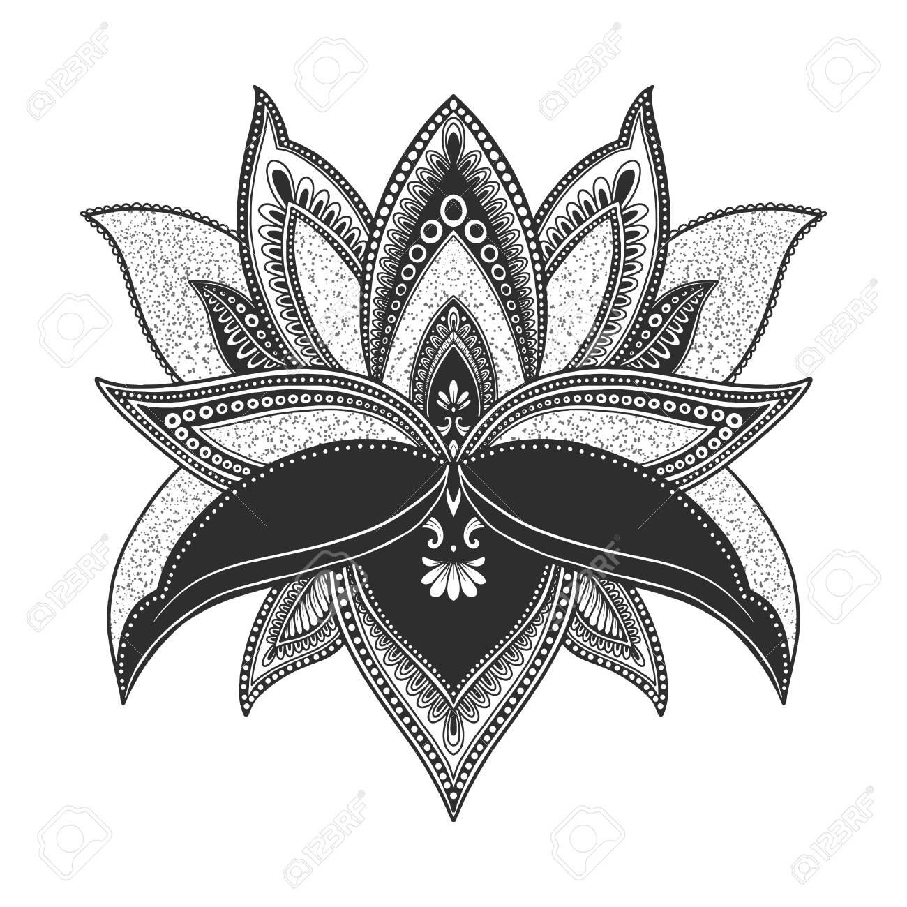 Filigree lotus flower, black vector, hand drawn - 132919765